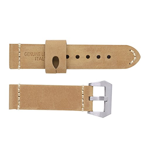 UEETEK 26mm Watch Strap Durable Calfskin Genuine Leather Watch Band Wristband for Watch Replacement (Light Coffee with Silver Buckle)