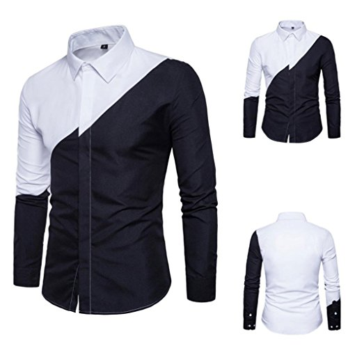 Pervobs Long Sleeve Shirts, Big Promotion! Mens Casual Long Sleeve Patchwork Formal Suits Slim Fit Tee Shirts Blouse Top (M, Black) by Pervobs Mens Long Sleeve Shirts