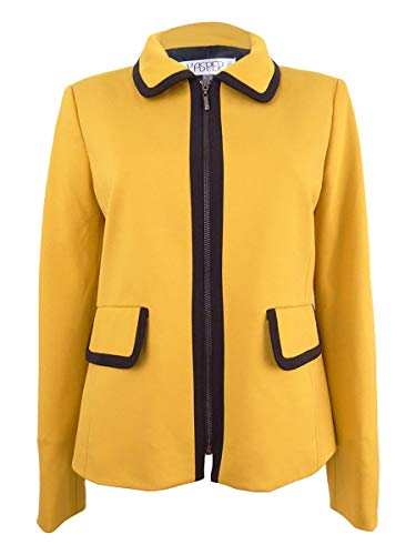 Kasper Womens Contrast Trim Long Sleeves Blazer Yellow 8