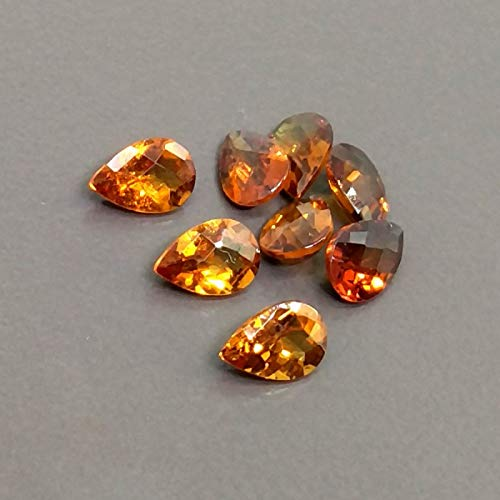 Cut Pear Faceted (12x8mm natural hessonite garnet faceted cut pear, 2 piece garnet loose gemstone)