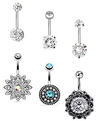 EVELICAL 6Pcs 14G Stainless Steel Belly Button Rings for Women Girls CZ Screw Navel Bars Body Piercing Jewelry