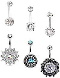 6-11Pcs 14G Stainless Steel Belly Button Rings for Women Girls CZ Screw Navel Bars Body Piercing Jewelry