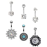 EVELICAL 4-11Pcs 14G Stainless Steel Belly Button Rings for Women Girls CZ Screw Navel Bars Body Piercing Jewelry