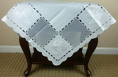 - Mikash Elegant Linen Embroidered 45x45 Square Embroidery Fabric Tablecloth White | Model TBLCLTH - 569