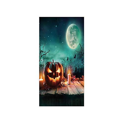 3D Decorative Film Privacy Window Film No Glue,Halloween,Fantastic Magic Night Spooky Atmosphere Candles Pumpkin on Wooden Planks Print,Multicolor,for -