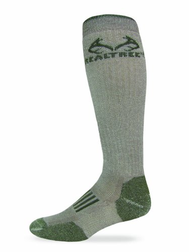 Socks Wool Calf Over - Realtree Outfitters Men's Merino Tall Boot Socks (1-Pair), Tan/Olive, Large
