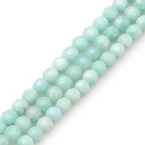 GEM-inside Amazonite Gemstone Loose Beads 4mm Round Faceted Crystal Energy Stone Power For Jewelry Making 15