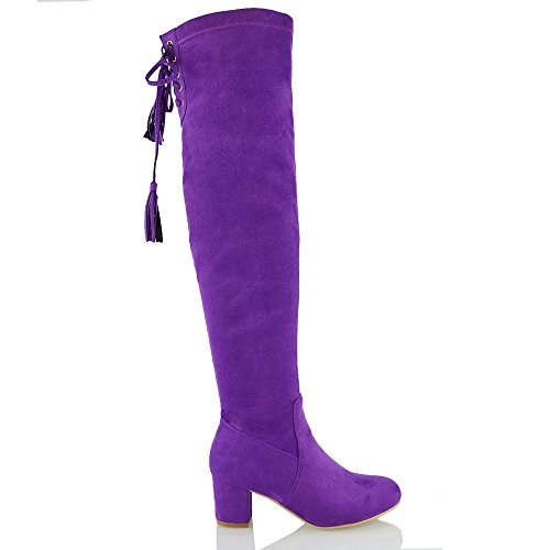 Essex Glam Womens Faux Suede Over The Knee High Lace Up Boots Purple Faux Suede aR0272Ti