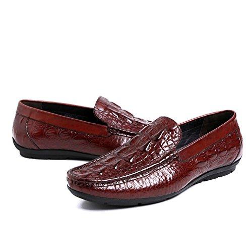Hombres Negocio Suave Cuero Zapatos Perezoso Vestir marrón Negro Bajo Respirable Soltero Conducción Zapatos Oxfords Primavera Plano tamaño 37-44 Wine Red