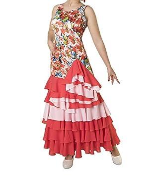ANUKA Vestido Estampado con Volantes para Danza Flamenco o sevillanas (M)
