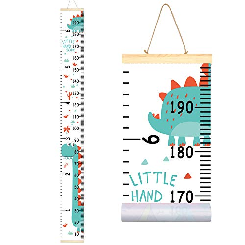 Sylfairy Kids Growth Chart, Wall Ruler Wood Frame Fabric Canvas Removable Height Measure Chart for Boys Girls Growth Ruler Unicorn Wall Room Decoration 79''7.9''(Green Dinosaur) -
