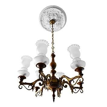 Lustre Vintage Annees 70 De Plafond En Bois Et Fusion De Bronze A 6