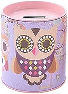 YLLY Mignon Tinplate Owl Tirelire Tirelire Coins Boîte De Rangement Cadeau Anniversaire