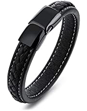 PK-1101 Classy Leather Braided Strap Bracelet with Magnetic Clasp for Men