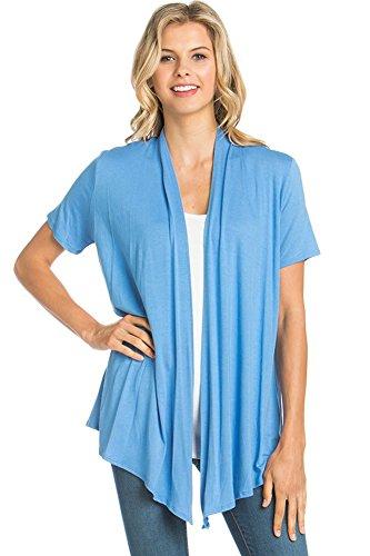 12 Ami Basic Solid Short Sleeve Open Front Cardigan Sky Blue Medium