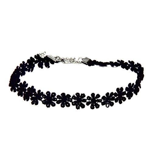 Inkach Delicate Chic Black Lace Daisy Flower Bracelet Female Wrist Chain Jewelry White