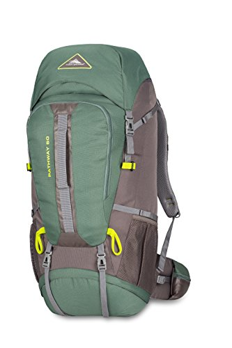 High Sierra Pathway 60L Top Load Internal Frame Backpack Pack ; High-Performance Pack for Backpacking, Hiking, Camping, with Rain Fly, Pine/Slate/Chartreuse