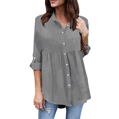 Fiaya Womens Solid Long Sleeve Turn Collar Button Chiffon Ladies OL Work Top Shirt XLarge Gray