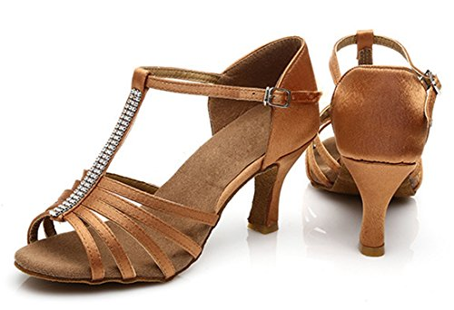 Wedding US TDA M Shoes Crystals Brown T Strap 7 Latin Women's Tango Salsa Modern Satin Samba Dance a1xag7wrq