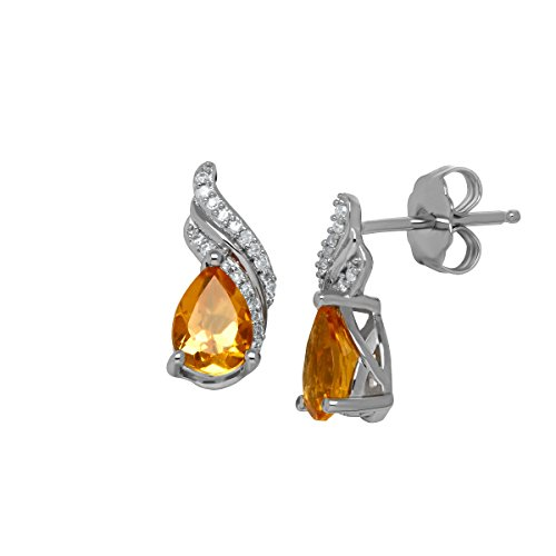 Citrine Diamond And Earrings (1 1/5 ct Natural Citrine Earrings with Diamonds in Sterling Silver)