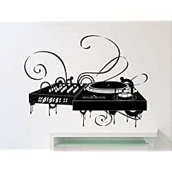 Turntable DJ Wall Decal Dick Jockey At Work Disco Dance Floor Music Studio Vinyl Sticker Home Interior Art Decoration Any Room Mural Waterproof Vinyl Sticker (26mu)