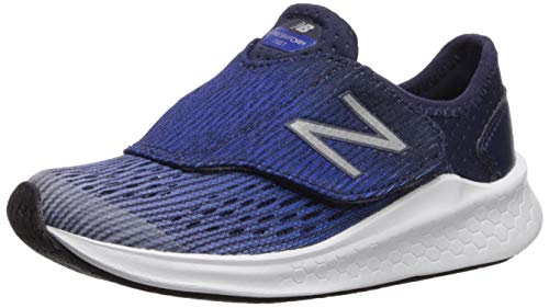 New Balance Boys' Hook and Loop Fresh Foam Fast Running Shoe, Light Aluminium with Team Royal & Pigment, 1 M US Little Kid