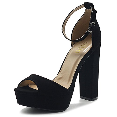 Simple Platform Ankle Strap Chunky High Heeled Sandals MG00H43 (9 B(M) US, Black) ()