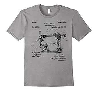 Mens Sewing Machine Patent 1885 Quilting Funny Tailor T shirt 2XL Slate