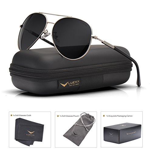 - Mens Womens Sunglasses Aviator Polarized Black by LUENX, LightWeight Metal Frame,Large 60mm Lens,with Case,for Driving,Fishing,Outdoor,Travel