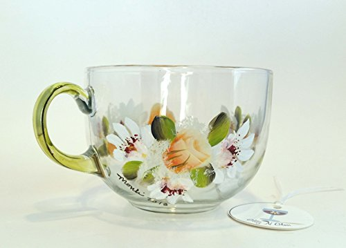Jumbo Daisy (Hand Painted Jumbo Glass Tea Cup With Tropicana Roses and Shasta Daisies)