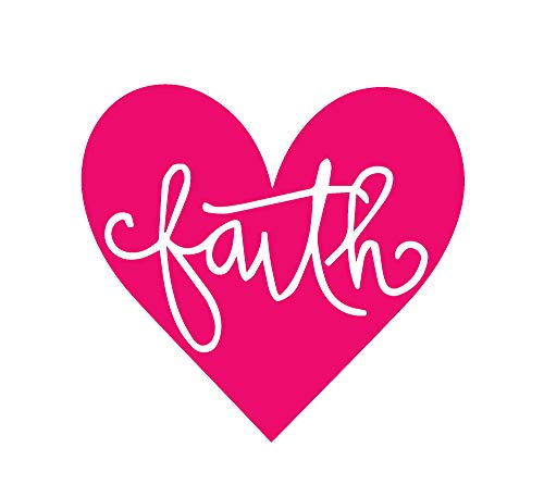 ANGDEST Faith Heart Phrase (Pink) (Set of 2) Premium Waterproof Vinyl Decal Stickers for Laptop Phone Accessory Helmet Car Window Bumper Mug Tuber Cup Door Wall Decoration