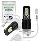 TUINCYN H3 LED Fog Light Bulbs for Cars CSP Chips 1600LM 6500K Cool White 80W Automobile DRL Daytime Running Lights