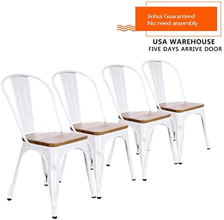Modern Style Wooden Seat Hotel Wedding Metal Industrial Stackable Bistro Dining Chairs Set of 4 White