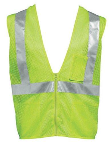 Liberty HiVizGard Polyester All Mesh Fabric Class 2 Safety Weste mit 5,1 cm breit silber Reflektierende Streifen in vertikale und horizontale Mustern, Medium, Fluorescent Lime Grün, 1