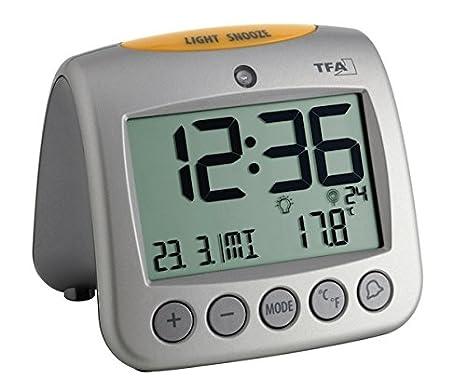 TFA 60.2514 Reloj Despertador Digital con termómetro, Plata: Amazon.es: Hogar