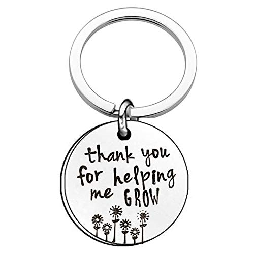FERVENT LOVE Teacher Appreciation Gifts Graduation Gifts Stainless Steel Keychain Thanks for Helping Me Grow Thank You/Retirement Gifts for Women/Men Fathers Day Birthday Gifts for Dad from Daughter -