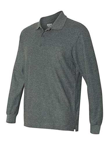Gildan Dryblend Double Pique Long-Sleeve Polo Shirt. 72900 Dark Heather XL