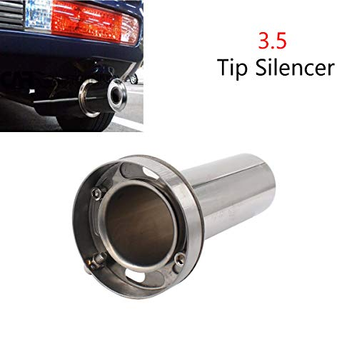 - 3.5'' inch Adjustable Stainless Steel Round Exhaust Muffler Tip Removable Silencer Inner Silence