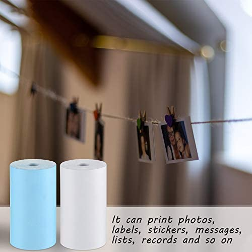 6 Pieces Glossy Printable Sticker Paper Direct Thermal Paper Self-Adhesive Printable Roll Sticker for Portable Pocket Mobile Printer, 57 x 30 mm
