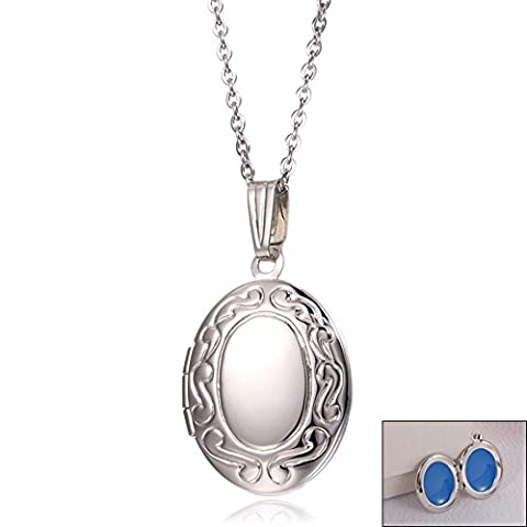 Dazzle Flash Stainless Steel Vintage Oval Pictures Locket Necklace,NGG246-B (The Dazzle Picture Frames)