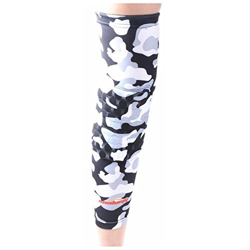 COOLOMG 1PCS Kids Adult Pad Compression Basketball Leg Knee Long Sleeve Protector Gear Camouflage Grey M
