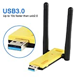Slicemall Wifi Adapter USB3.0 Wireless Adapter Network Long Range High-gain Antenna Dual Band Wifi 1200Mbps(5GHz 866Mbps /2.4GHz 300Mbps) Supports Windows XP/7/8/10/Mac/Linux ...