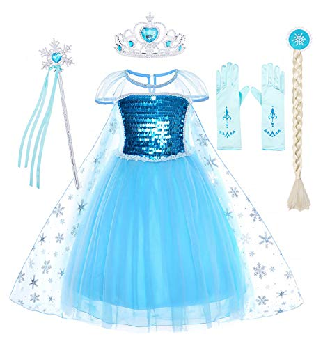 Cotrio Snow Queen Princess Elsa Costumes Birthday Dress Up for Little Girls Halloween Outfits with Wig, Gloves, Crown, Scepter Short Sleeve Dresses Size 6 (5-6 Years, Blue, -