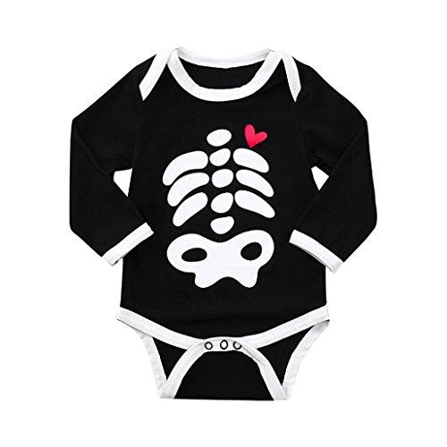 Halloween Jumpsuit,Kid Baby Skull Bone Love Print Cartoon Romper (18M, Black) -