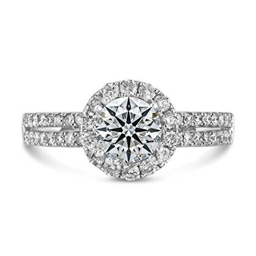 0.76ct Pavé Side Diamond in 14K White Gold Semi Mount Halo Ring (6)