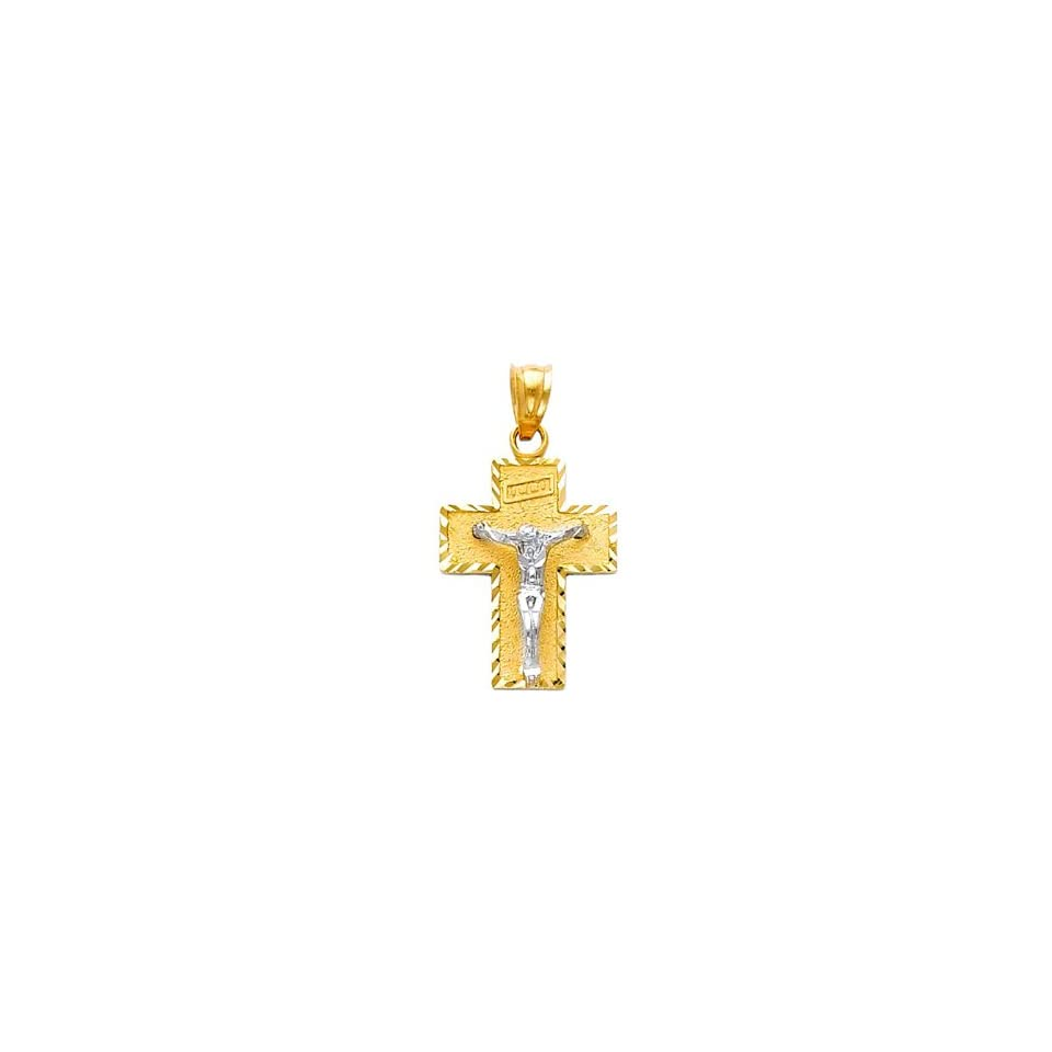 14k Two Tone Gold Religious Jesus Cross Charm Pendant