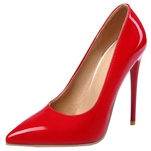 Women Pumps SM Heel Pointed Shoes On Red Party Slip Toe TAOFFEN High Thin Fashion TwTvRd