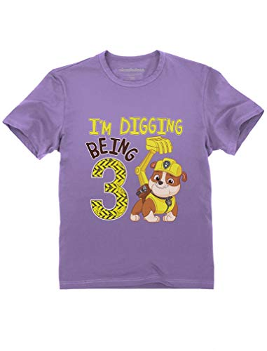 - Tstars - Paw Patrol Rubble Digging 3rd Birthday Official Toddler Kids T-Shirt 4T Lavender