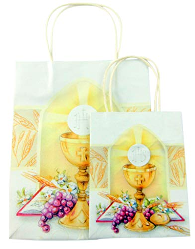 First Communion Gift Bag with Bread of Life Chalice Image for Boys or