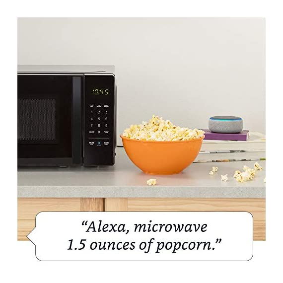 Amazon Basics Microwave bundle with Echo Dot (3rd Gen) - Charcoal 12 Now it's easier to defrost vegetables, make popcorn, cook potatoes, and reheat rice. With an Echo device (not included), quick-cook voice presets and a simplified keypad let you just ask Alexa to start microwaving. Automatically reorder popcorn when you run low and save 10% on popcorn orders-enabled by Amazon Dash Replenishment technology Compact size saves counter space, plus 10 power levels, a kitchen timer, a child lock, and a turntable.